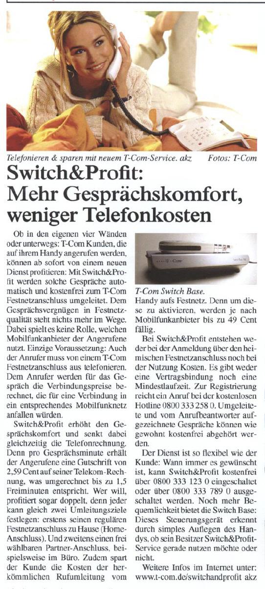 Deutsche Telekom Muster-Materndienstbeitrag mit zwei Bildern