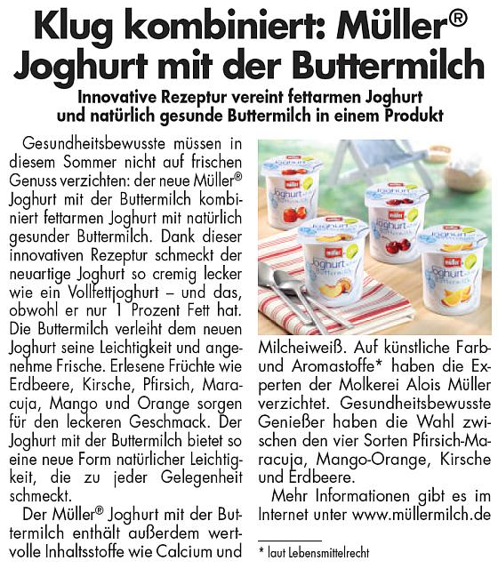 Die Molkerei Alois Müller begleitete die Einführung einer neuen Joghurt-Linie mit einem Materndienst, um von Anfang an Nachfrage für das Produkt zu schaffen.